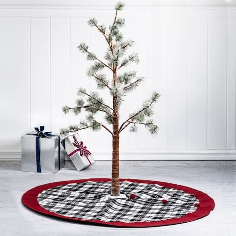 """Glitzhome 48""""D Traditional Christmas Tree Skirt With Border"""