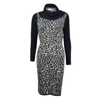 Calvin Klein Women's Animal Print Colorblock Knit Dress