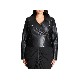 City Chic Womens Plus Motorcycle Jacket Fall Faux Leather