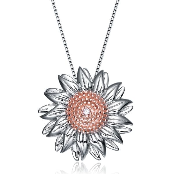 Collette Z Sterling Silver Cubic Zirconia Sunflower Necklace On Sale Overstock 7941491 The sunflower necklace is a symmetrical necklace with sunflowers and leaves on it. collette z