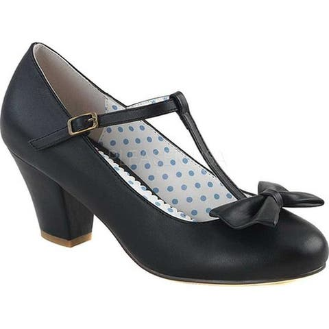 Pin Up Couture Women's Wiggle 50 T-Strap Black Faux Leather