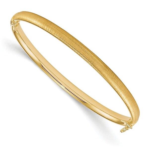 Italian 14k Gold Polished and Brushed Hinged Bangle