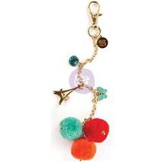 Tangerine - My Prima Planner Pom Pom Key Chain Adornment