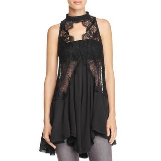 Free People Womens Tell Tale Halter Top Lace Overlay Ciut-Off