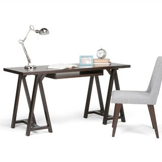 Link to WYNDENHALL Hawkins SOLID WOOD Modern Industrial 60 inch Wide Writing Office Desk Similar Items in Computer Desks