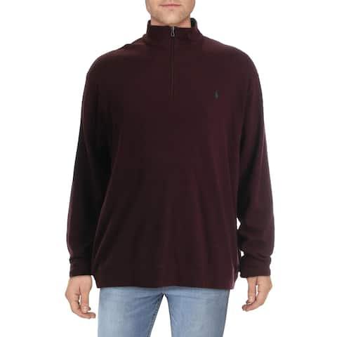 Polo Ralph Lauren Mens Big & Tall 1/2 Zip Sweater Knit Jersey - Red - 2XB