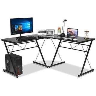 Gymax L-Shape Computer Desk Tempered Glass Laptop Table Workstation Corner Home Office
