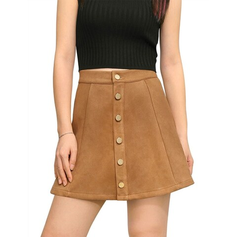 Allegra K Woman Button Closure Front Mid Rise Mini A-Line Skirt