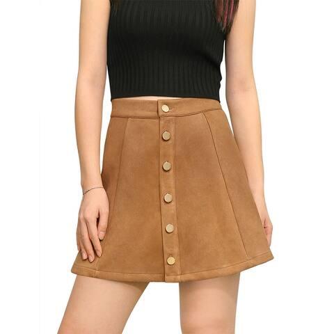 Unique Bargains Woman Button Closure Front Mid Rise Mini A-Line Skirt