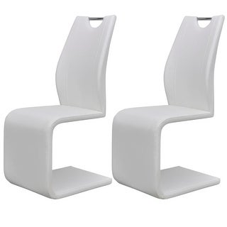 vidaXL Cantilever Dining Chairs 2 pcs Artificial Leather White