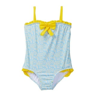 Azul Baby Girls Blue Yellow Floral Print Daisy Crazy One Piece Swimsuit