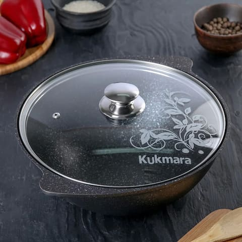 KUKMARA 4.8Qt Non-Stick Aluminum Cooking Kazan, Kettle for Jambalaya, Pilaf w/Glass Lid
