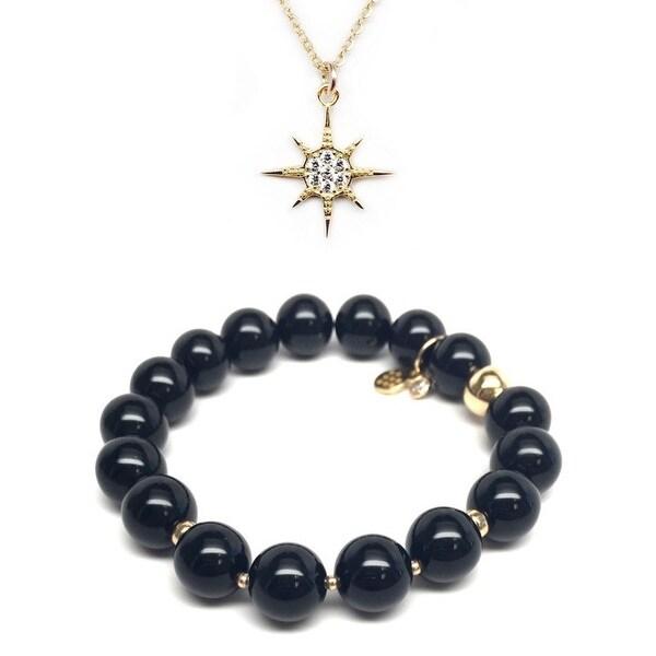 Black Onyx Bracelet & CZ Sunburst Gold Charm Necklace Set