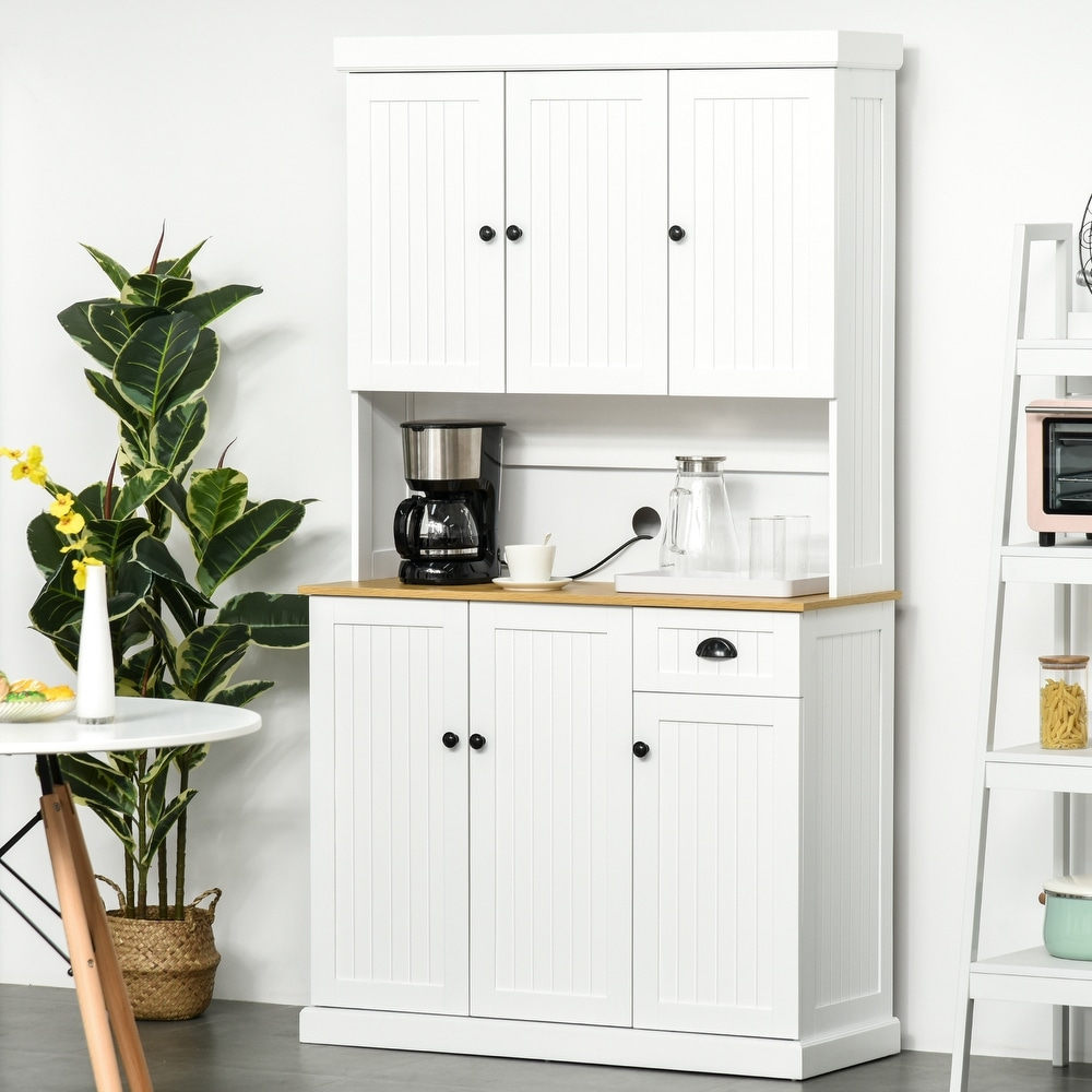 """Overstock HOMCOM 71"""" Kitchen Pantry Buffet with Hutch Storage Cabinet Microwave Oven Stand with Drawer- White/Oak (White)"""