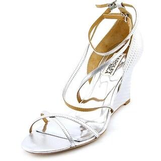 Badgley Mischka Melaney II Women Open Toe Synthetic Silver Wedge Heel