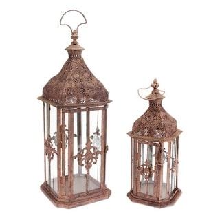 "Set of 2 Brick Brown Antique Rustic Pillar Candle Holder Lanterns 24"" - N/A"
