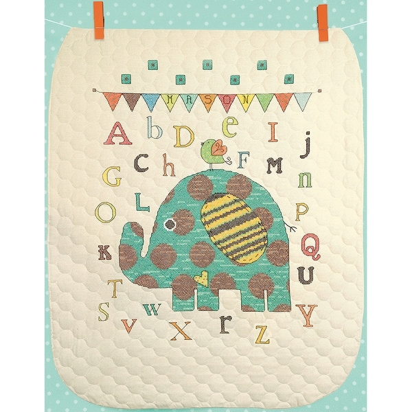 "Baby Elephant ABC Quilt Stamped Cross Stitch Kit-34""X43"""