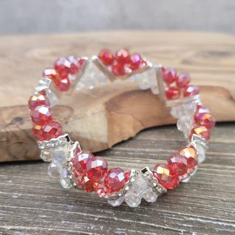 Handmade Crystal and Rhinestone Red Stretch Bracelet
