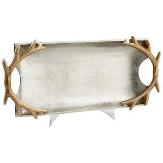 Cyan Design Large Horn Handle Tray Horn Handle 20.75 Inch Wide Aluminum Tray Made in India - Nickel
