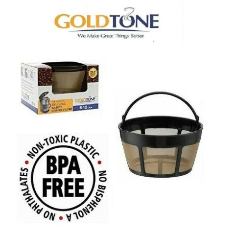 GoldTone Reusable 8-12 Cup Basket Filter Replacement Fits ALL Hamilton Beach Coffee Machines and Brewers, BPA Free (1 Pack)