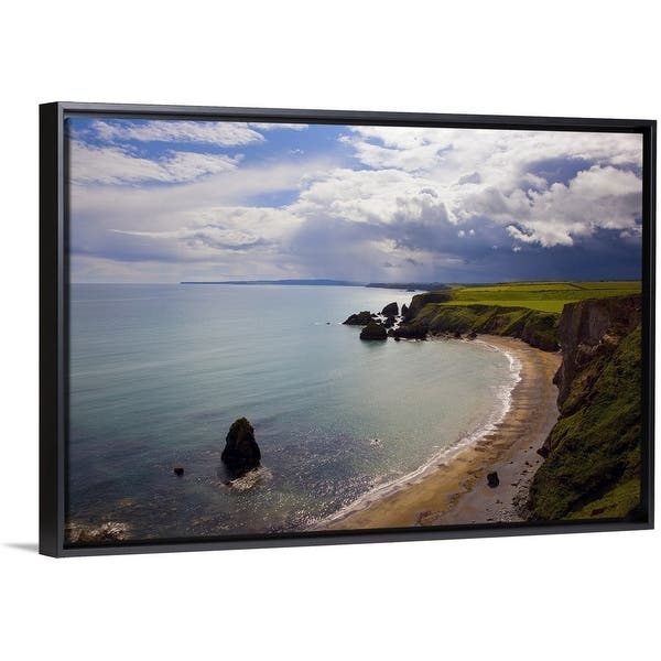 Shop Black Friday Deals On Ballydowane Beach Copper Coast County Waterford Ireland Black Float Frame Canvas Art Overstock 25513908