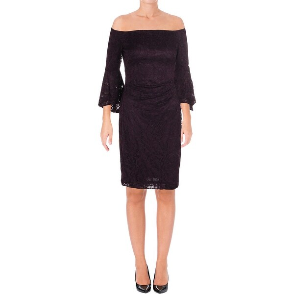 Lauren Ralph Lauren Womens Cocktail Dress Off-The-Shoulder Bell Sleeves