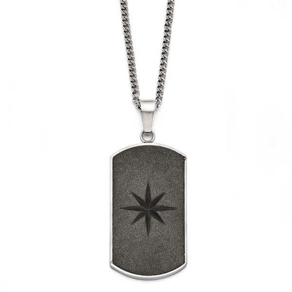 Chisel Stainless Steel Black IP-plated Laser Cut Dogtag Necklace (2 mm) - 22 in