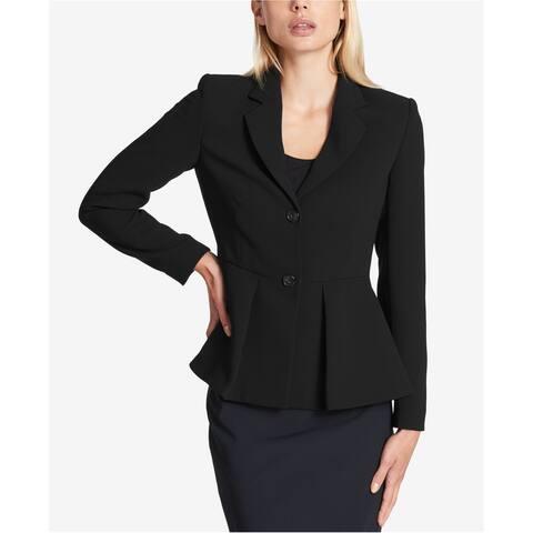 DKNY Womens Peplum Two Button Blazer Jacket, Black, 2