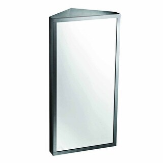 Brushed Stainless Steel Corner Medicine Cabinet, Left Hinge