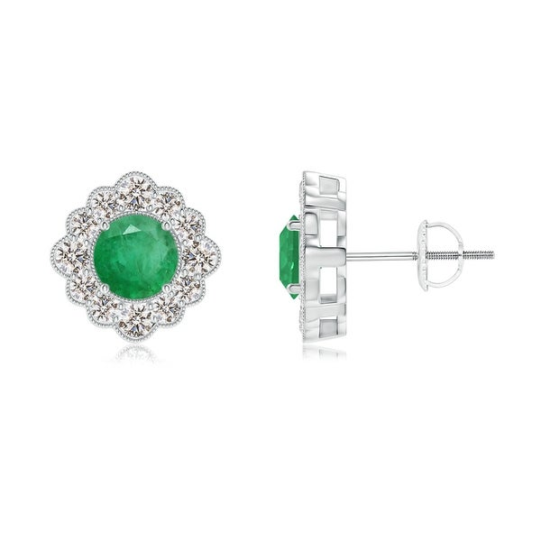 Angara Round Emerald and Diamond Flower Stud Earrings 79JiPUnn6