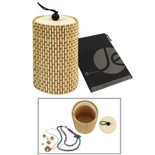 JAVOedge Small Oval Travel Bamboo Jewelry Storage Box with Bonus Drawstring Bag