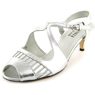 Vaneli Ulva Women  Open Toe Leather Silver Sandals