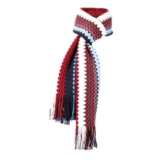 Link to Missoni Metallic Blue/Red Crochet Knit Fine Zigzag Fringe Scarf - 20-71 Similar Items in Scarves & Wraps