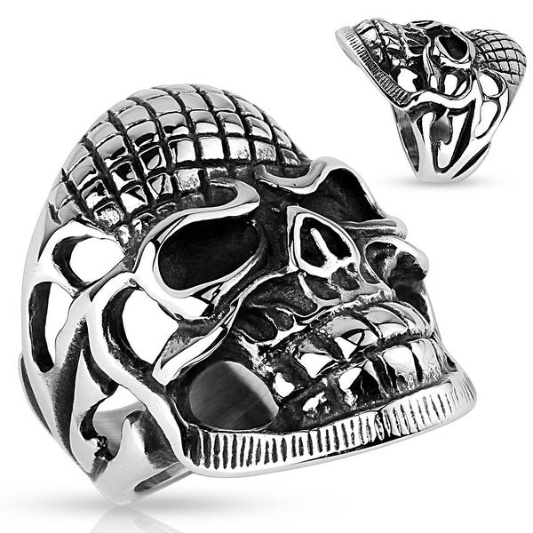 Skull with Grid-lined Forehead Stainless Steel Ring (Sold Ind.)