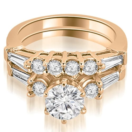 1.35 cttw. 14K Rose Gold Baguette and Round Diamond Bridal Set