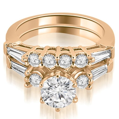 1.60 cttw. 14K Rose Gold Baguette and Round Diamond Bridal Set