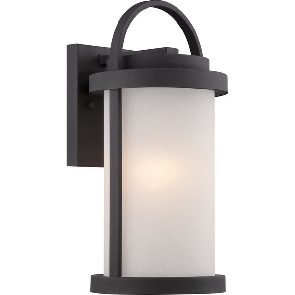 "Nuvo Lighting 62/651 Willis 1-Light 15-1/8"" Tall LED Outdoor Wall Sconce with Frosted Glass Shade - Textured Black - n/a"