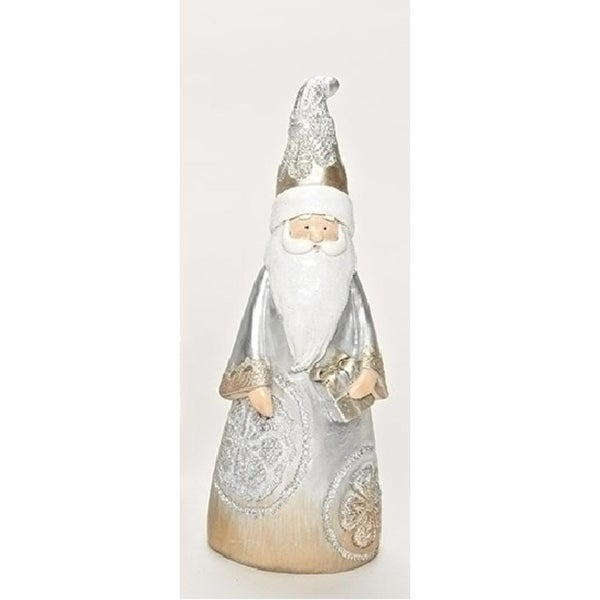 """8"""" Resin Carved Lace Inspired Santa Claus with Present Decorative Christmas Table Top Decoration"""