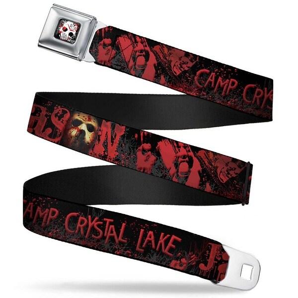 Friday The 13Th Jason Mask 5 Full Color Splatter Black White Red Jason Seatbelt Belt