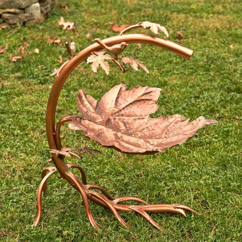 Maple Leaf Birdbath with the Birds Antique Copper Finish