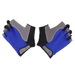 Outdoor Motorcycle Sport Anti Skid Half Finger Protector Gloves M Size Pair Blue