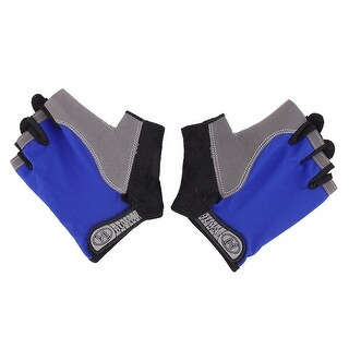 Outdoor Skating Cycling Sport Breathable Half Finger Gloves Blue L Size Pair