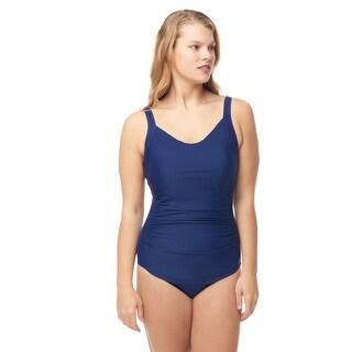 Sea Sand Swimwear V-neck Shirred Front Sheath