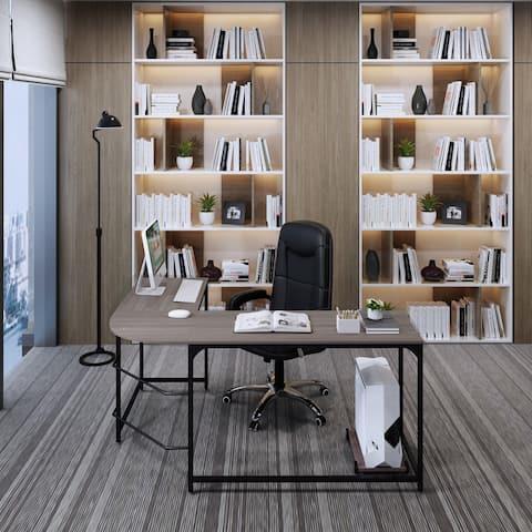 """Large L-shaped Desk 66"""" Wood Modern Corner Computer Desk Gaming Study Workstation Table with Stand Home Office - Black oak"""