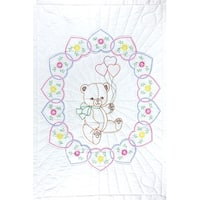 "Stamped White Quilt Crib Top 40""X60""-Bear With Balloons"