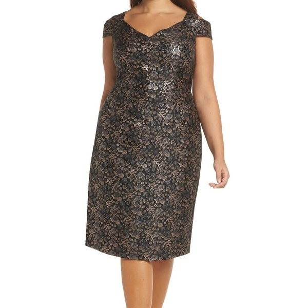 Maggy London Blue Womens Size 8 Metallic Brocade Sheath Dress