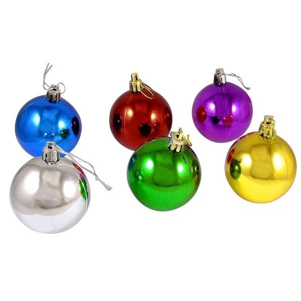 Unique Bargains 6 Pcs Multicolor 6cm Plastic Ornament Hanger Ball for Christmas Tree