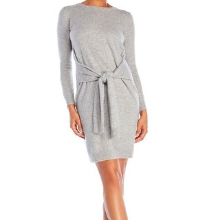 Philosophy Gray Womens Small S Cashmere Sleeve-Tie Sweater Dress