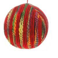 "5"" Bohemian Holiday Colorful Yarn Christmas Ball Ornament - multi"