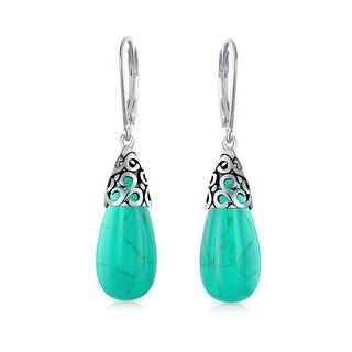 Bling Jewelry Turquoise Teardrop Filigree Leverback Drop Earrings 925 Silver